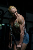 Muscular Woman Doing Heavy Weight Exercise For Triceps Royalty Free Stock Image