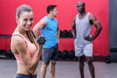 Muscular woman lifting a dumbbell Royalty Free Stock Photo