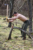Muscular woodcutter Royalty Free Stock Photos