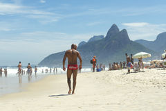 Muscular Young Brazilian Man Walking Ipanema Beach Stock Photos