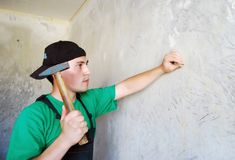 Muscular young builder. Stock Photo