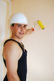 Muscular young builder. royalty free stock photo