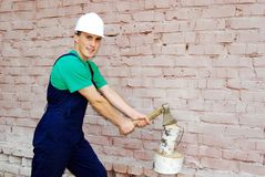 Muscular young builder. stock image