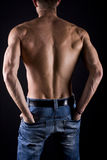 Muscular young male body on black background. Royalty Free Stock Images