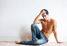 Muscular young male model posing - Copyspace Royalty Free Stock Images