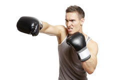 Muscular young man boxing in sports outfit. Muscular young man with boxing gloves throwing a punch in sports outfit on white background Royalty Free Stock Image