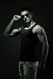 Muscular young man. Bw Stock Photo