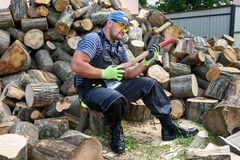 Muscular young man chopping logs stock image