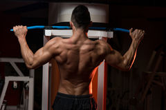 Muscular Young Man Exercising In Gym Stock Photos