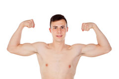 Muscular young man with naked torso. On white background Royalty Free Stock Image