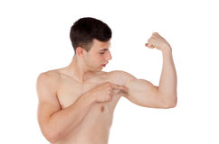 Muscular young man with naked torso. On white background Stock Image