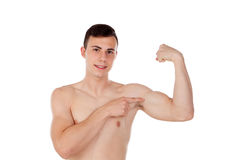Muscular young man with naked torso. On white background Stock Photo