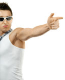 Muscular Young Man Shoots Finger Stock Images