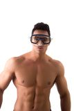 Muscular young man with swimming mask or goggles. Isolated on white royalty free stock image