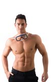 Muscular young man with swimming mask or goggles. Isolated on white stock photos