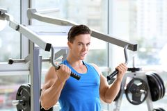 Muscular young man training Stock Image