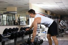 Muscular young man training Royalty Free Stock Photography