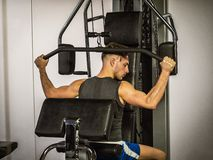 Muscular young man, training pecs on gym machine. Muscular young man, training pecs on gym cable machine stock image