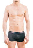 Muscular young man wearing boxer briefs royalty free stock photos