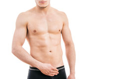 Muscular young man wearing boxer briefs stock images