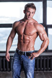 Muscular young sexy guy posing in jeans and naked torso Stock Image