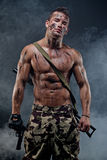 Muscular young wet sexy naked soldiers Royalty Free Stock Photo