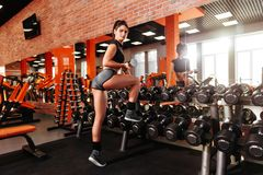 Muscular young woman with beautiful body doing exercises with dumbbell. stock photo
