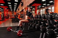 Muscular young woman with beautiful body doing exercises with dumbbell. stock photos