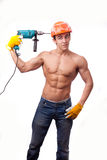 Muscular young worker Stock Photo