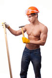 Muscular young worker Royalty Free Stock Photography