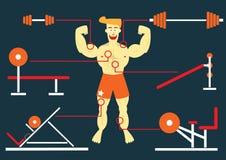 Musculation d'homme avec son grand muscle Photo libre de droits