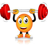 Musculation. Smiley who played sports with weight bar Stock Photography