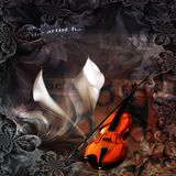 Muse. Violin Abstract with Calla Lilys Stock Photography