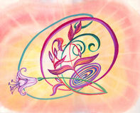 Muse. Watercolour hand drawn abstraction with lily and coloured background Royalty Free Stock Image