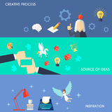 Muse Banner Set. Muse flat horizontal banner set with creative process source of ideas inspiration elements  vector illustration Royalty Free Stock Photos