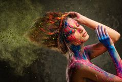 Muse with creative body art. Young woman muse with creative body art and hairdo Stock Image