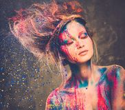 Muse with creative body art stock photos
