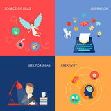 Muse Flat Set. Muse design concept set with source of ideas inspiration creativity flat icons set isolated vector illustration Stock Photos