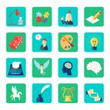 Muse Icon Flat. Set with lyre dice lightbulb puzzle isolated vector illustration Royalty Free Stock Image