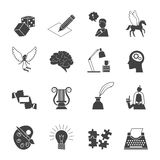 Muse Icon Set. Muse and inspiration black icon set with typing machine brain color palette isolated vector illustration Stock Photo