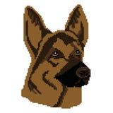Museau, silhouette d'un berger noir Dog dessiné dans les places, pixels Illustration de vecteur illustration libre de droits