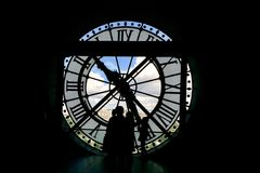 Clock in musee d'Orsay. Musee d'Orsay modern art museum on the bank of the Seine in Paris. An old train station converted into museum Royalty Free Stock Photo