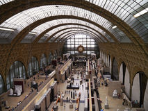 Musee D'Orsay - the main hall and clock in Paris, France Stock Photos