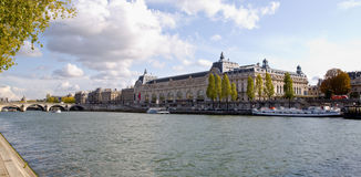 Musee d'Orsay Museum along Seine River Royalty Free Stock Photo