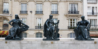 Musee d'Orsay Museum Outside Statues. Statues outside of Musee d'Orsay Museum in Paris, France, which contains contemporary artwork Royalty Free Stock Photography