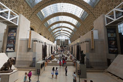 Musee d`Orsay. PARIS, FRANCE -12 AUG 2016- Visitors at the Musee d`Orsay in Paris. Located in the former Gare d Orsay train station, the museum has the largest Stock Photos