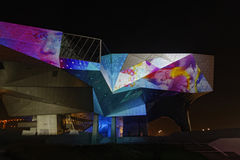 Musee des Confluences during Festival of Lights Royalty Free Stock Images