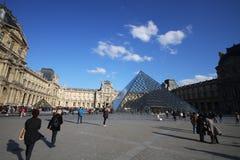Musee du Louvre,有启发性有吸引力的博物馆在好晴天, glassed金字塔在欧洲,巴黎,法国,游人 库存图片