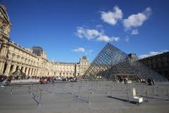 Musee du Louvre,有启发性有吸引力的博物馆在好晴天, glassed金字塔在欧洲,巴黎,法国 免版税库存照片