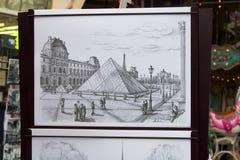 Musee du louvre - εικόνα σε χαρτί στοκ φωτογραφίες